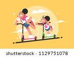 girls riding kick scooter....   Shutterstock .eps vector #1129751078