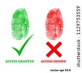 fingerprint with access granted ... | Shutterstock .eps vector #1129753559