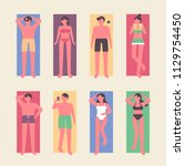 people lying on the beach and... | Shutterstock .eps vector #1129754450