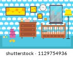 baby room bedroom child... | Shutterstock . vector #1129754936
