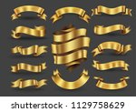 gold ribbon banners collection. ... | Shutterstock .eps vector #1129758629