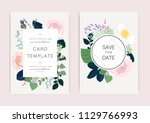 wedding invitation  floral... | Shutterstock .eps vector #1129766993
