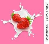 strawberry fruit and splashes... | Shutterstock .eps vector #1129767059