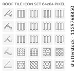 roof tile icon set  64x64... | Shutterstock .eps vector #1129768850