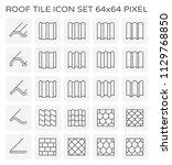 roof tile icon set  64x64...   Shutterstock .eps vector #1129768850