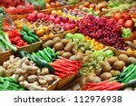 fruits and vegetables at a... | Shutterstock . vector #112976938