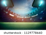 lights at night and football... | Shutterstock . vector #1129778660