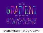 modern gradient font  alphabet... | Shutterstock .eps vector #1129779890
