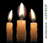 three lit candles isolated on... | Shutterstock .eps vector #112978129