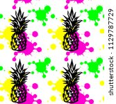 colorful pineapple seamless... | Shutterstock .eps vector #1129787729