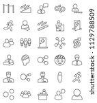 thin line vector icon set  ... | Shutterstock .eps vector #1129788509