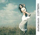 fashionable brunette posing... | Shutterstock . vector #112978894