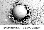 volleyball ball breaking with... | Shutterstock . vector #1129793804