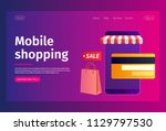 online shopping concept of web... | Shutterstock .eps vector #1129797530