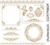 vintage set. floral elements... | Shutterstock . vector #1129798829