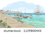 seafront pier graphic yacht...   Shutterstock .eps vector #1129800443