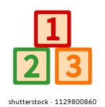 123 toy blocks or cubes with... | Shutterstock .eps vector #1129800860