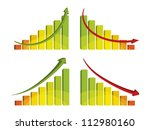 3d colorful bar chart with... | Shutterstock .eps vector #112980160