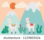 cute llama in the wild. hand... | Shutterstock .eps vector #1129805426