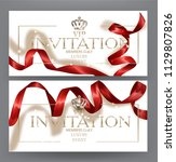 vip invitation cards with red... | Shutterstock .eps vector #1129807826
