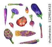 watercolor vegetables set... | Shutterstock . vector #1129816433