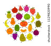 funny fruits  character set for ... | Shutterstock .eps vector #1129820990