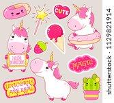 set of cute unicorns in kawaii... | Shutterstock .eps vector #1129821914