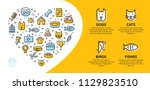 Stock vector pet shop banner template with vector graphic icon set in heart form card flyer poster illustration 1129823510