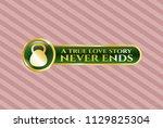 shiny emblem with kettlebell... | Shutterstock .eps vector #1129825304