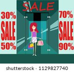 girl on sale in the store | Shutterstock .eps vector #1129827740