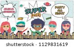 superhero party card with kids... | Shutterstock .eps vector #1129831619