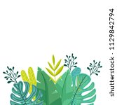 tropical border decoration with ... | Shutterstock .eps vector #1129842794