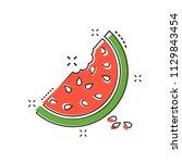 cartoon watermelon icon in... | Shutterstock .eps vector #1129843454