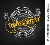 stylish yellow text oktoberfest ... | Shutterstock .eps vector #1129850183