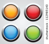 nice set of round buttons with... | Shutterstock .eps vector #112985140