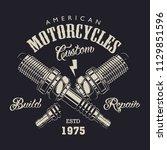 monochrome motorcycle service... | Shutterstock .eps vector #1129851596