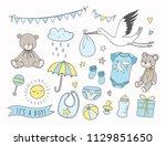 baby shower vector... | Shutterstock .eps vector #1129851650