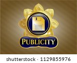 shiny emblem with diskette... | Shutterstock .eps vector #1129855976