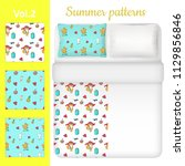white blank and summer bed... | Shutterstock .eps vector #1129856846