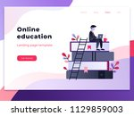 landing page template of online ... | Shutterstock .eps vector #1129859003