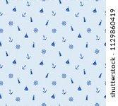 cute seamless marine pattern...   Shutterstock .eps vector #1129860419