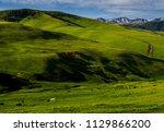 kazakh yurt in assy plateau in... | Shutterstock . vector #1129866200