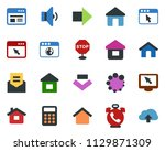 colored vector icon set   phone ... | Shutterstock .eps vector #1129871309