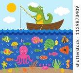 crocodile  in boat catches fish ...   Shutterstock .eps vector #1129873409