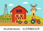 farm with windmill and tractor  ...   Shutterstock .eps vector #1129883129