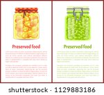 preserved food poster pea and... | Shutterstock .eps vector #1129883186