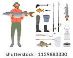 fisherman with fish in hand and ... | Shutterstock .eps vector #1129883330