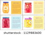 canned oranges and strawberries ... | Shutterstock .eps vector #1129883600