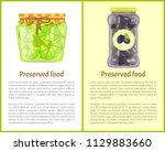 preserved food poster lime or... | Shutterstock .eps vector #1129883660
