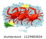 crabs with rosemary and lemon... | Shutterstock . vector #1129883834